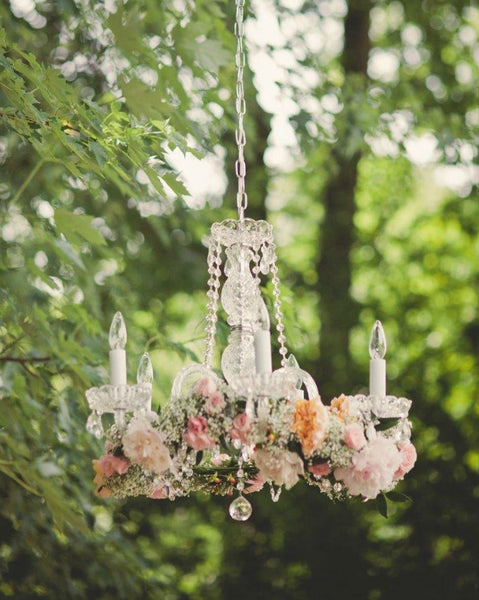 Vintage chandelier with flowers for wedding day