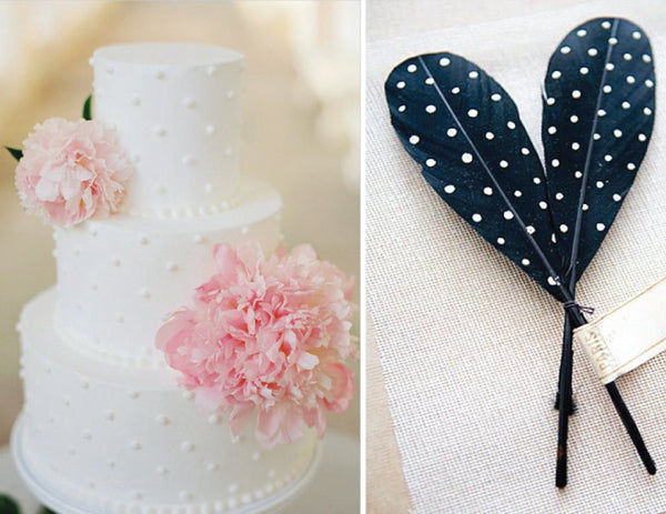 white polka dot cake with pink peonies