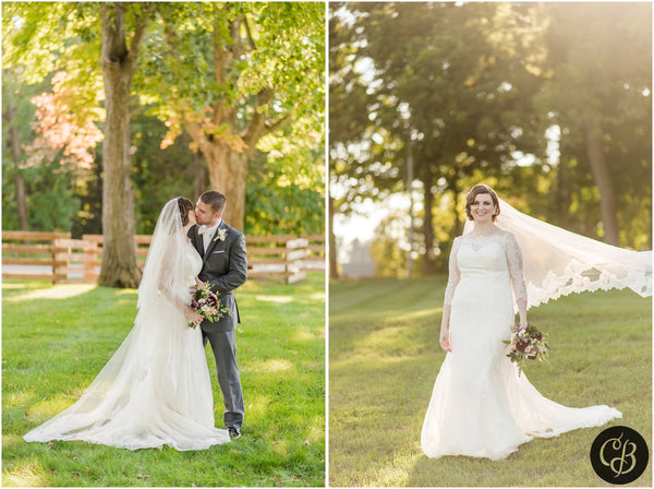 outdoor wedding with cathedral veil