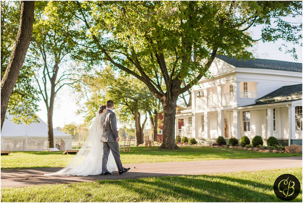 southern style outdoor wedding with cathedral veil