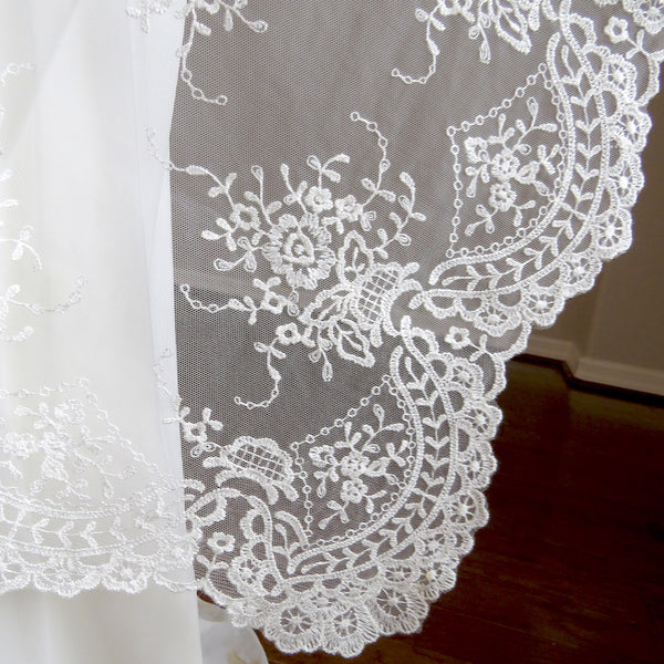 mantilla veil for bride and groom