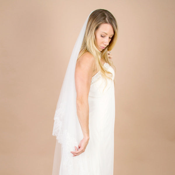 Lace wedding veil mantilla style with blusher
