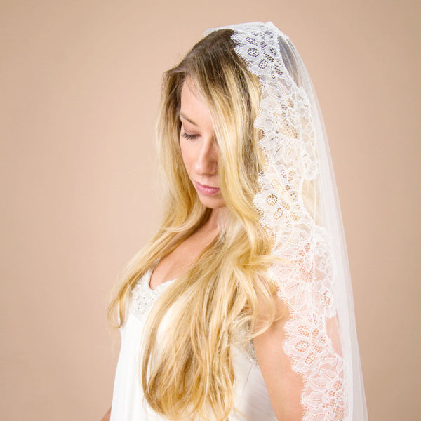 mantilla bridal veil without blusher