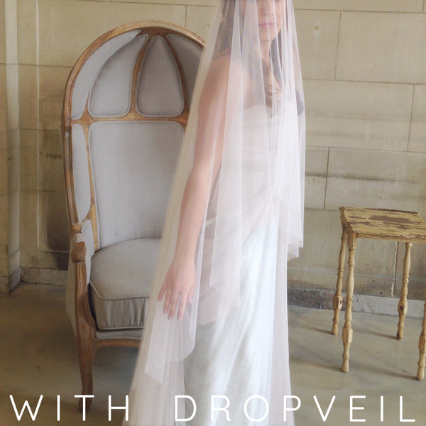 cathedral length blush raw edge veil with drop veil blusher