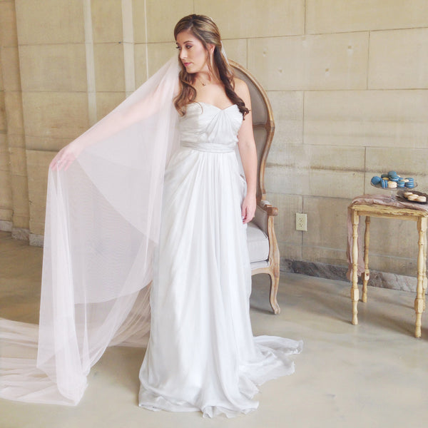 pink cathedral length veil with blusher