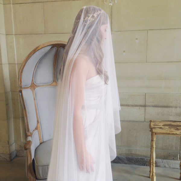 blush colored cathedral length veil soft pink