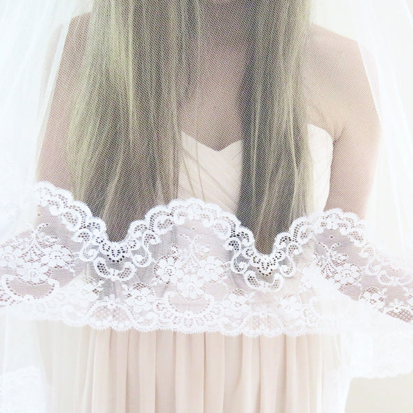 mantilla bridal veil with blusher