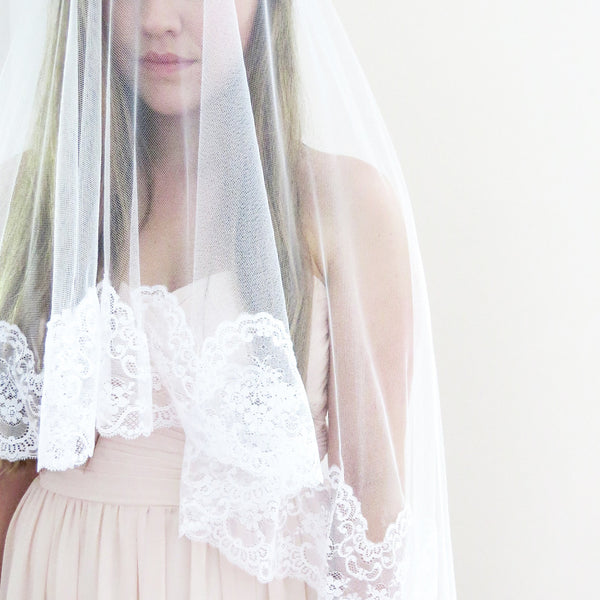 spanish lace bridal veil with blusher