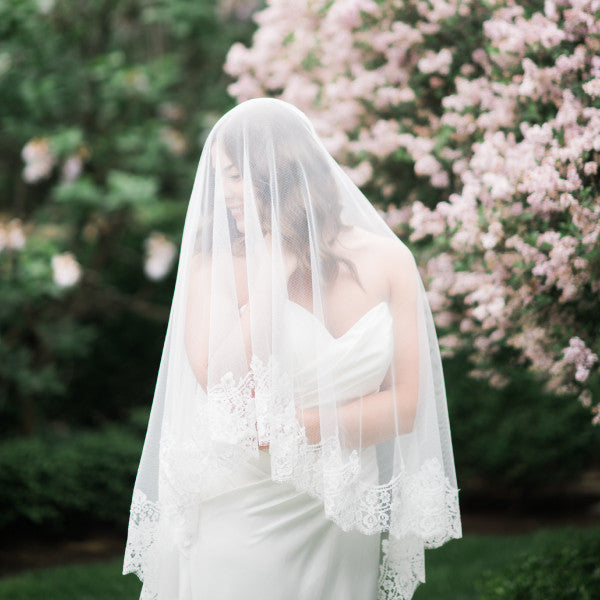 mantilla wedding veil cathedral length with rose lace profile