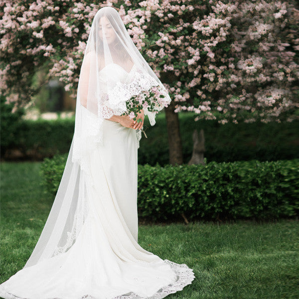 mantilla wedding veil cathedral length with rose lace full front view