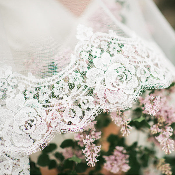 mantilla wedding veil cathedral length with rose lace detail