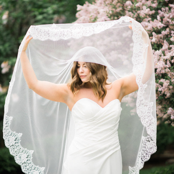 mantilla wedding veil cathedral length with rose lace lifting blusher