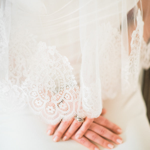 spanish lace cathedral veil blusher detail