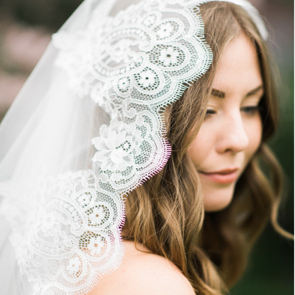 spanish lace cathedral veil lace detail