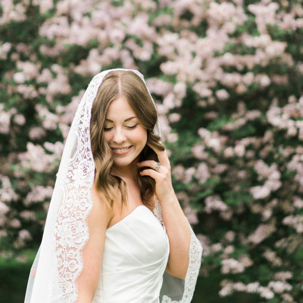mantilla wedding veil cathedral length with rose lace