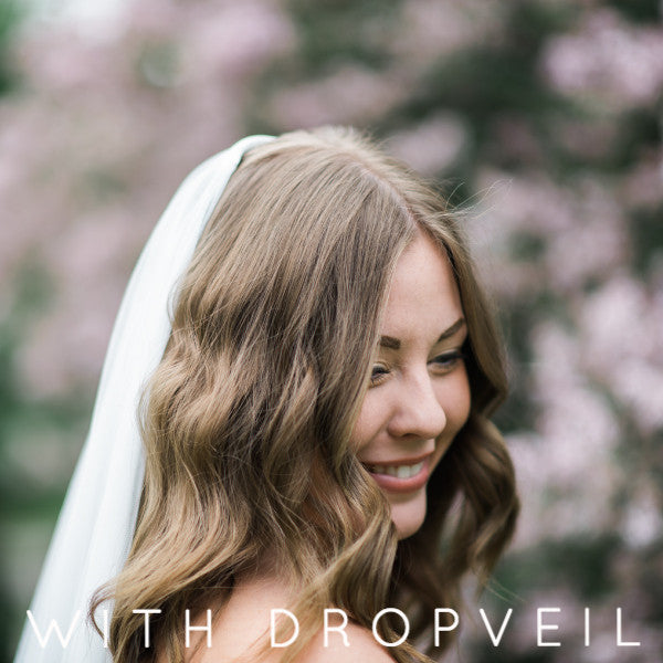 mantilla wedding veil cathedral length with rose lace drop veil detail