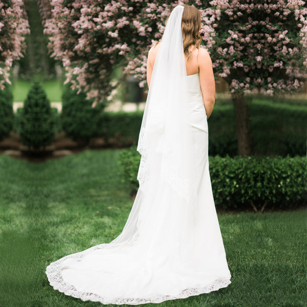 mantilla wedding veil cathedral length with rose lace full back view
