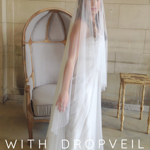 cathedral length ivory raw edge veil with drop veil blusher