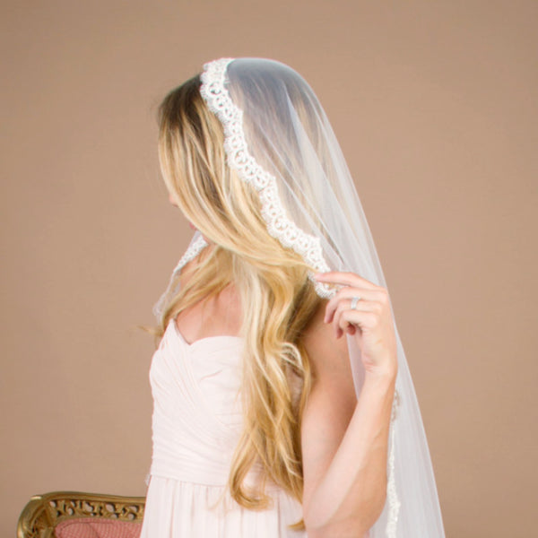 Cathedral length mantilla wedding veil with beading
