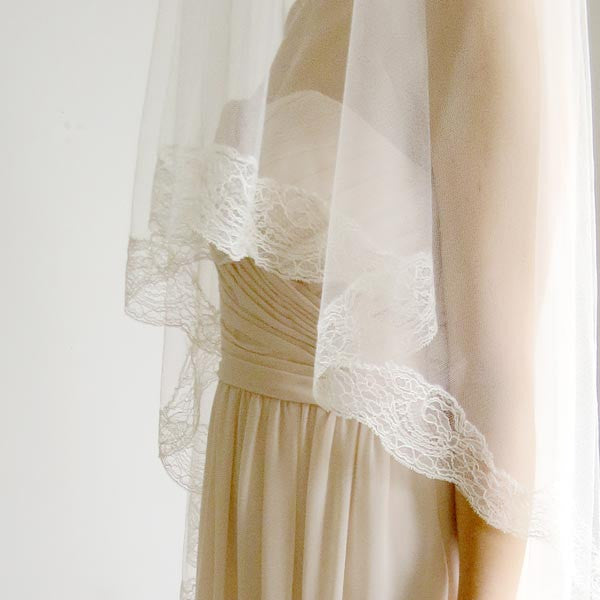 Ivory cathedral length mantilla wedding veil
