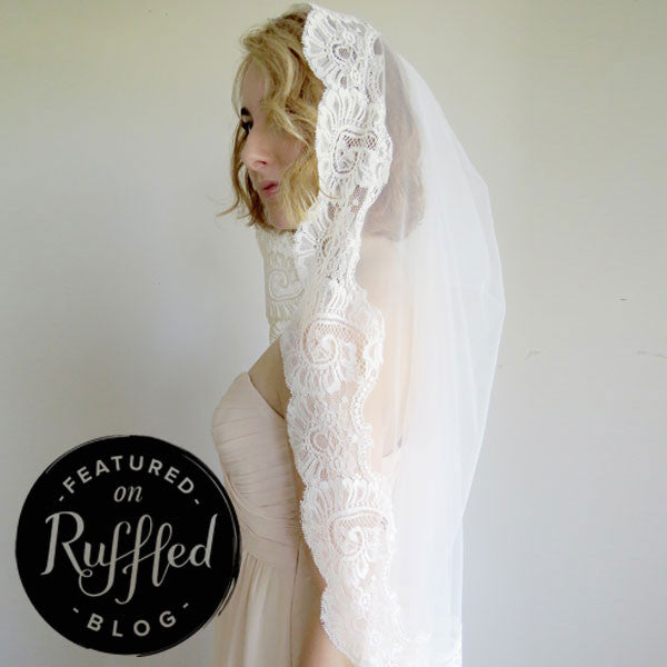ivory cathedral veil mantilla style with paisley lace