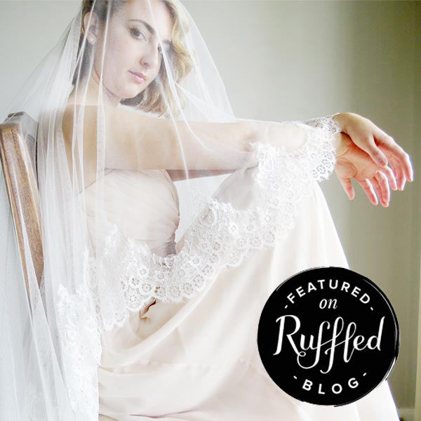 Cathedral length mantilla wedding veil on ruffled blog