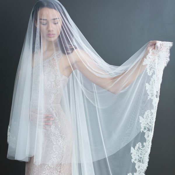 half-lace mantilla veil with blusher
