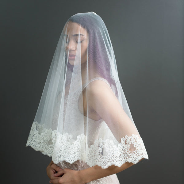 elbow length mantilla with blusher