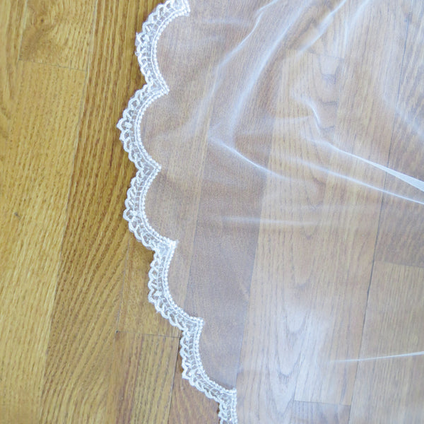 beaded mantilla veil scalloped lace trim cathedral
