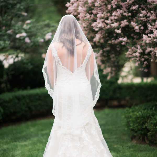 fingertip length mantilla veil paisley lace back view full