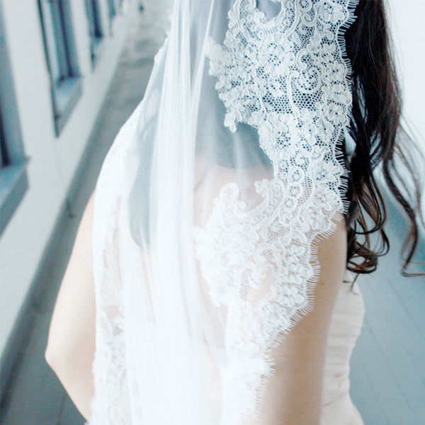 Mantilla Wedding Veil with French Alencon Lace