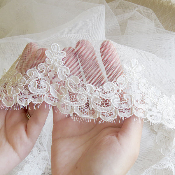 alencon lace in ivory, cathedral length mantilla under $400 from The Mantilla Company