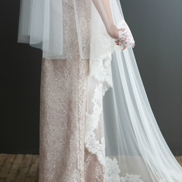 bottom view of half-lace mantilla veil with blusher