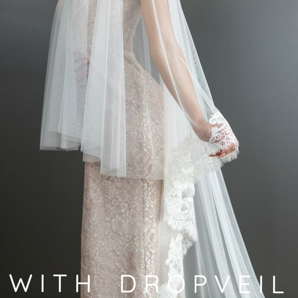 mantilla veil with drop veil style blusher