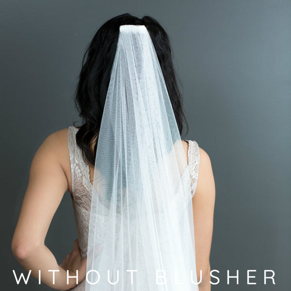 mantilla veil with half lace and no blusher