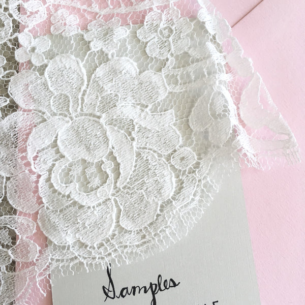 Lace Samples- great deals on lace veils- order a sample to take the guess work out of purchasing your veil online. The $5.99 fee will be credited towards your veil purchase. Go to www.themantillacompany.com to shop a large selection of lace mantilla veils online.