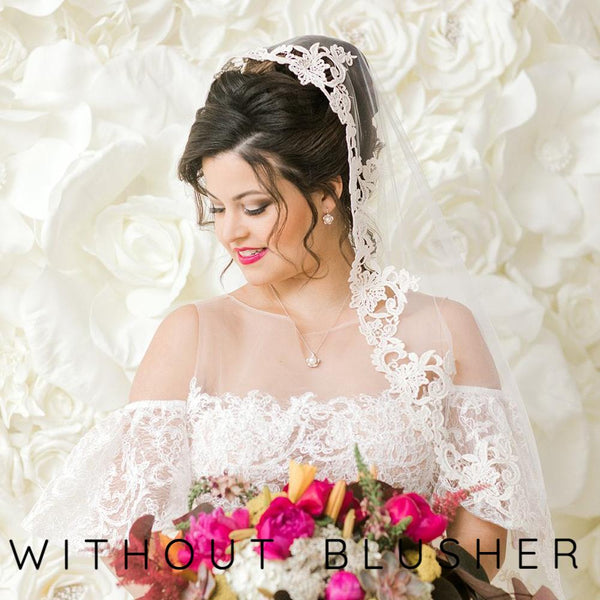 ivory mantilla veil without a blusher