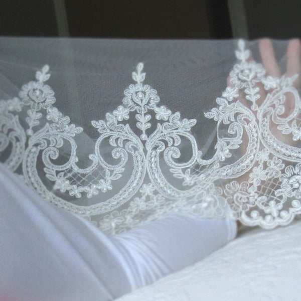 lace veils cathedral length mantilla with wide lace in ivory