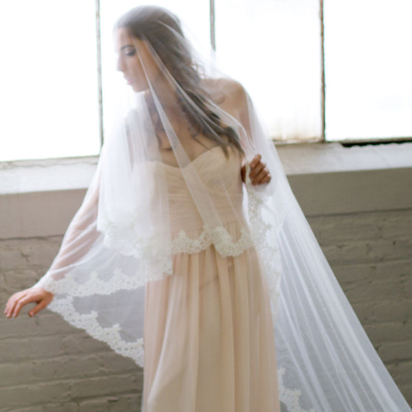 Carolina Cathedral Length Mantilla Wedding Veil with blusher