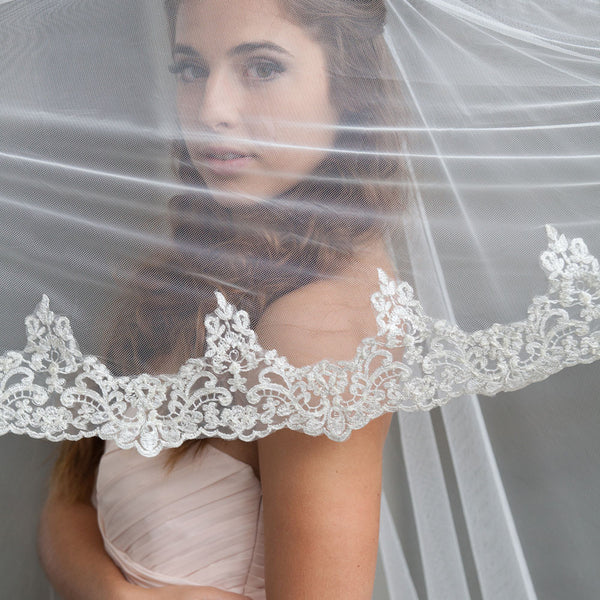 mantilla veil with blusher embellished lace veil