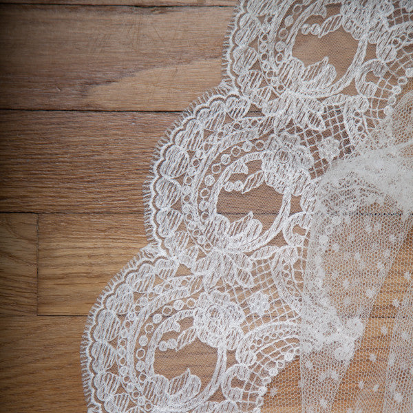 cathedral lace veil with polka dot tulle