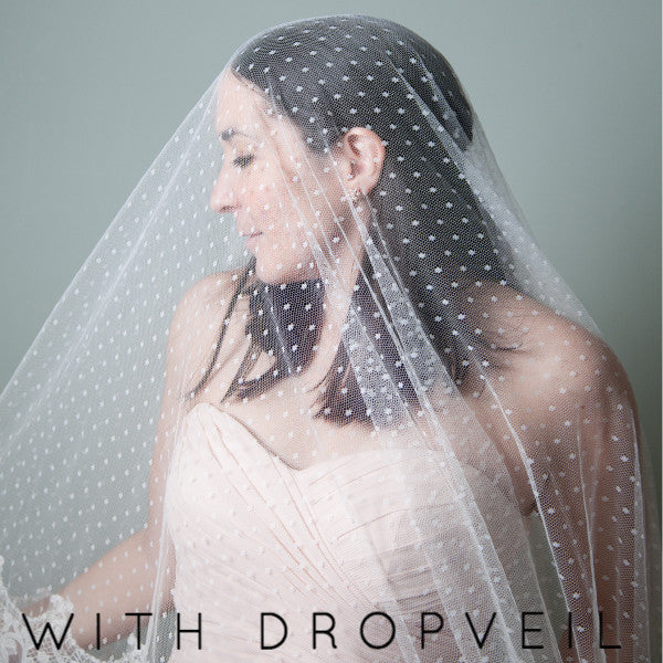 Sofia mantilla with drop veil blusher from The Mantilla Company