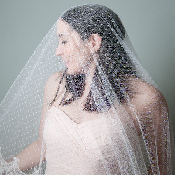 polka dot mantilla wedding veil