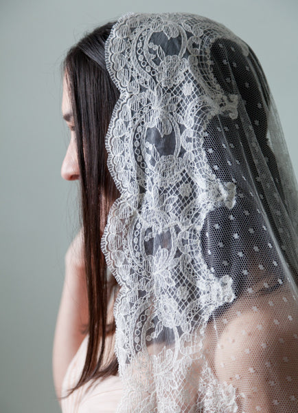lace veil with polka dot tulle