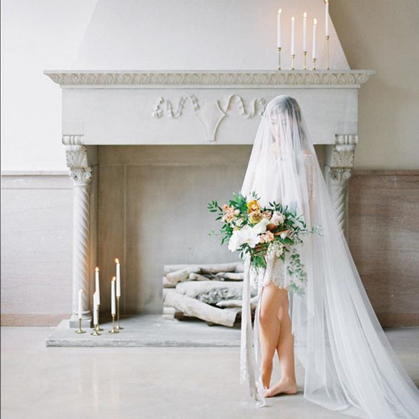 raw edge cathedral veil in ivory aerial pearl fireplace cleveland ohio
