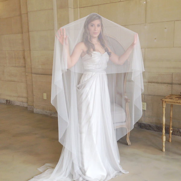 raw edge cathedral veil in ivory with blusher