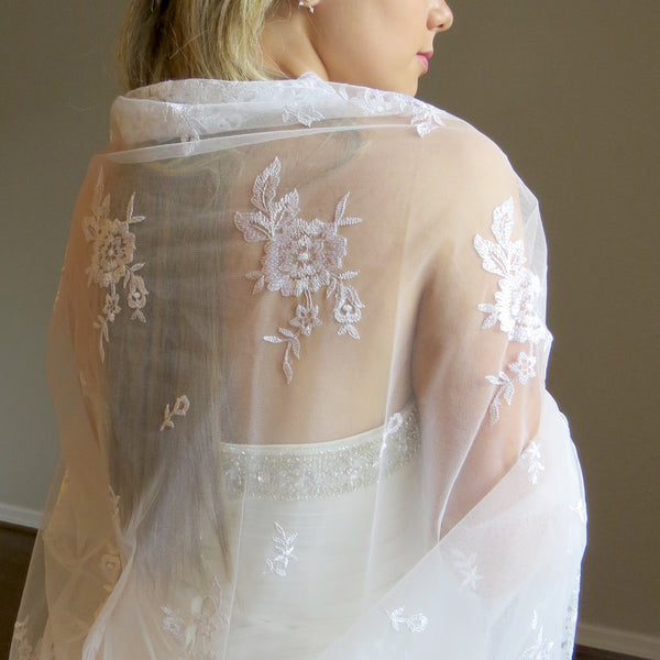 rectangular ceremony mantilla veil for bride and groom