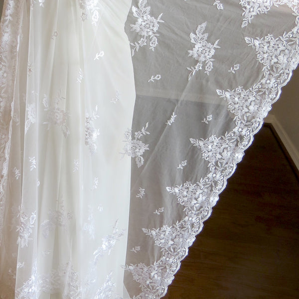 ceremony mantilla veil for bride and groom