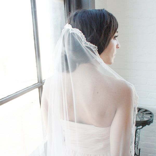 beaded mantilla veil scalloped lace trim hair low bun