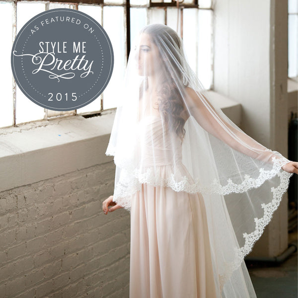 Spanish Lace Cathedral Veil featured on Style Me Pretty